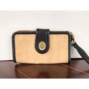 Coach neutral straw black leather wristlet purse